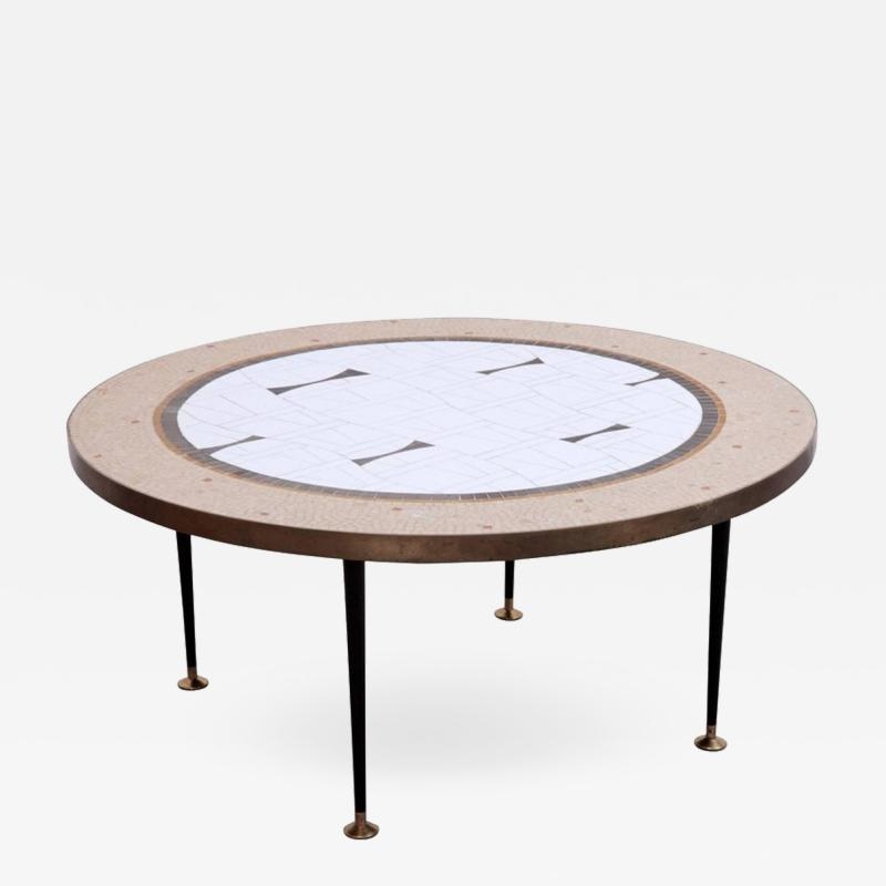 Berthold Muller Large Round Berthold Muller Mosaic Coffee Table Germany 1960s