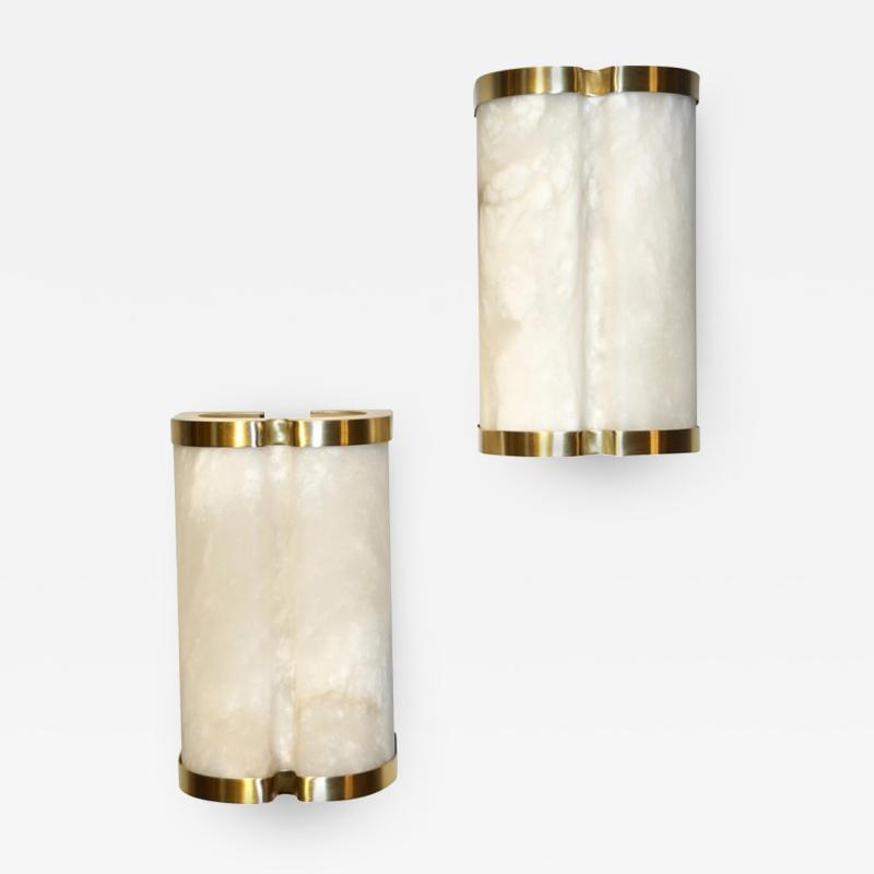 Bespoke Italian Art Deco Style Cream White Alabaster Pair of Brass Edged Sconces