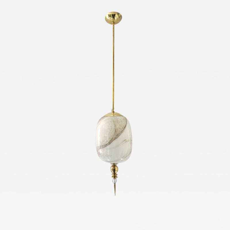 Bespoke Italian Brass Cream White Alabaster Glass Cylinder Pendant Lantern