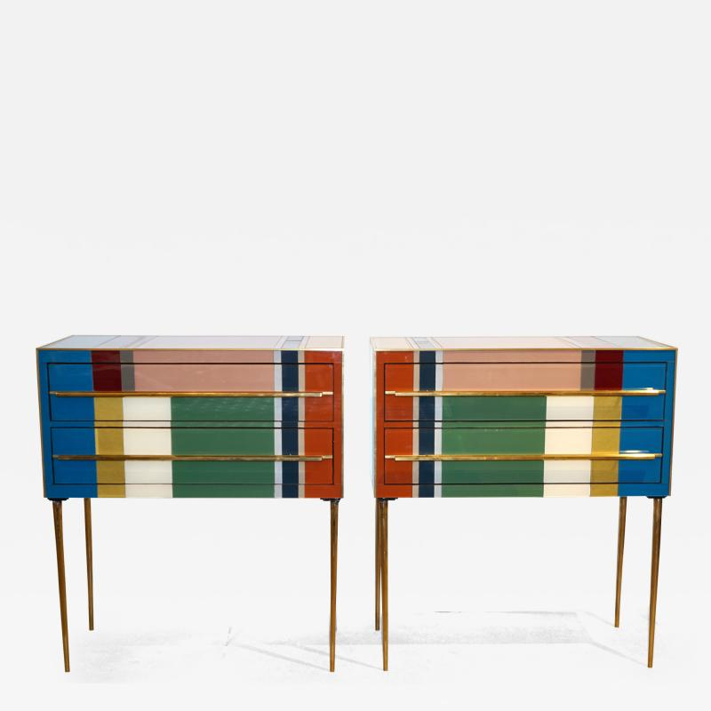 Bespoke Italian Pair of Mondrian Style Blue Green Yellow Chests End Tables