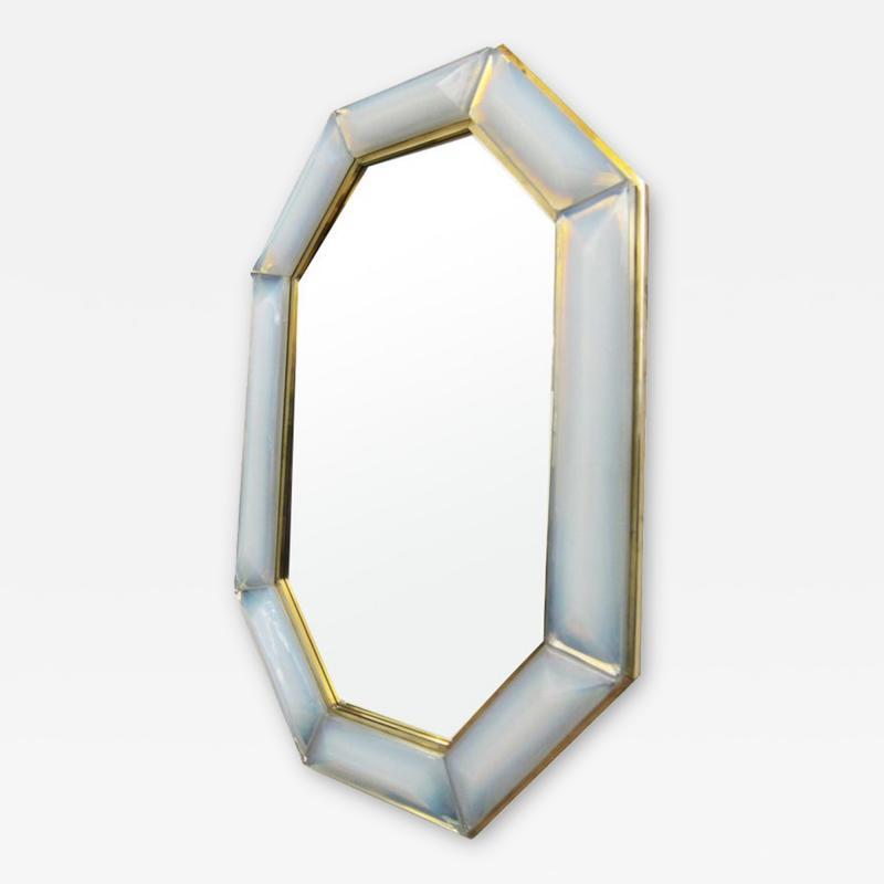 Bespoke Octagon Iridescent Opaline Murano Glass Mirror in Stock