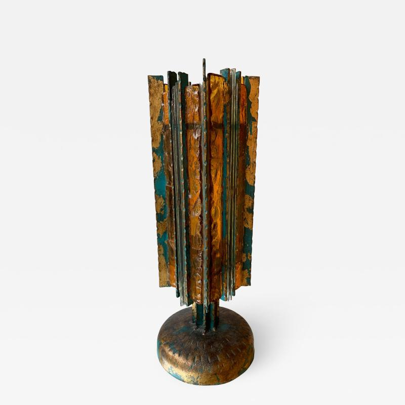 Biancardi Jordan Lamp iron Glass Gold leaf by Biancardi Arte Italy 1970s