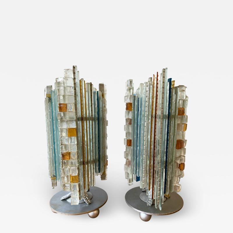 Biancardi Jordan Pair of Lamps Glass and Wrought Iron by Biancardi Jordan Arte Italy 1970s