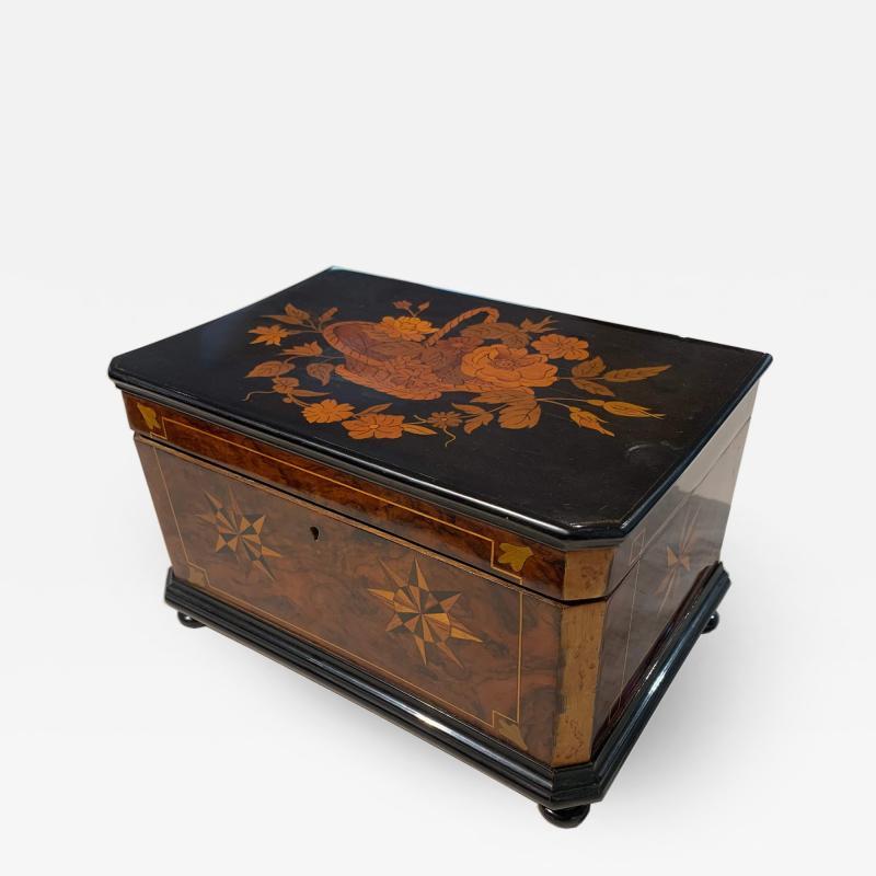 Biedermeier Casket Box Ebony Walnut and Inlays South Germany circa 1850