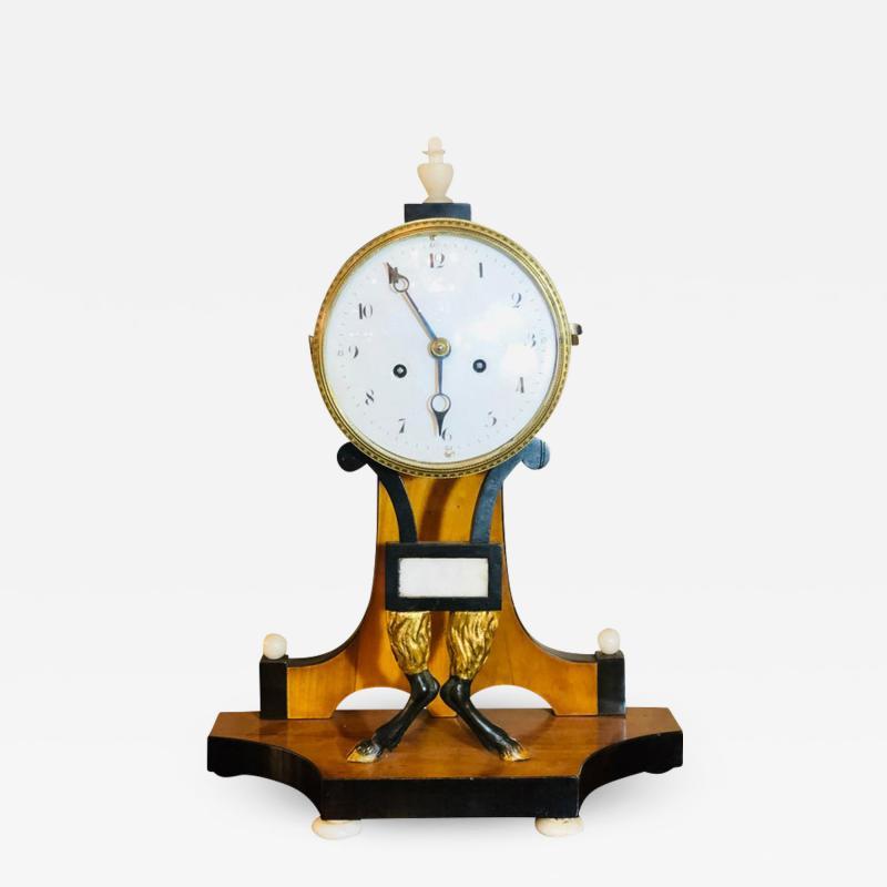 Biedermeier Mantle Clock with Ebonized Details and Hoof Legs Silk Suspension