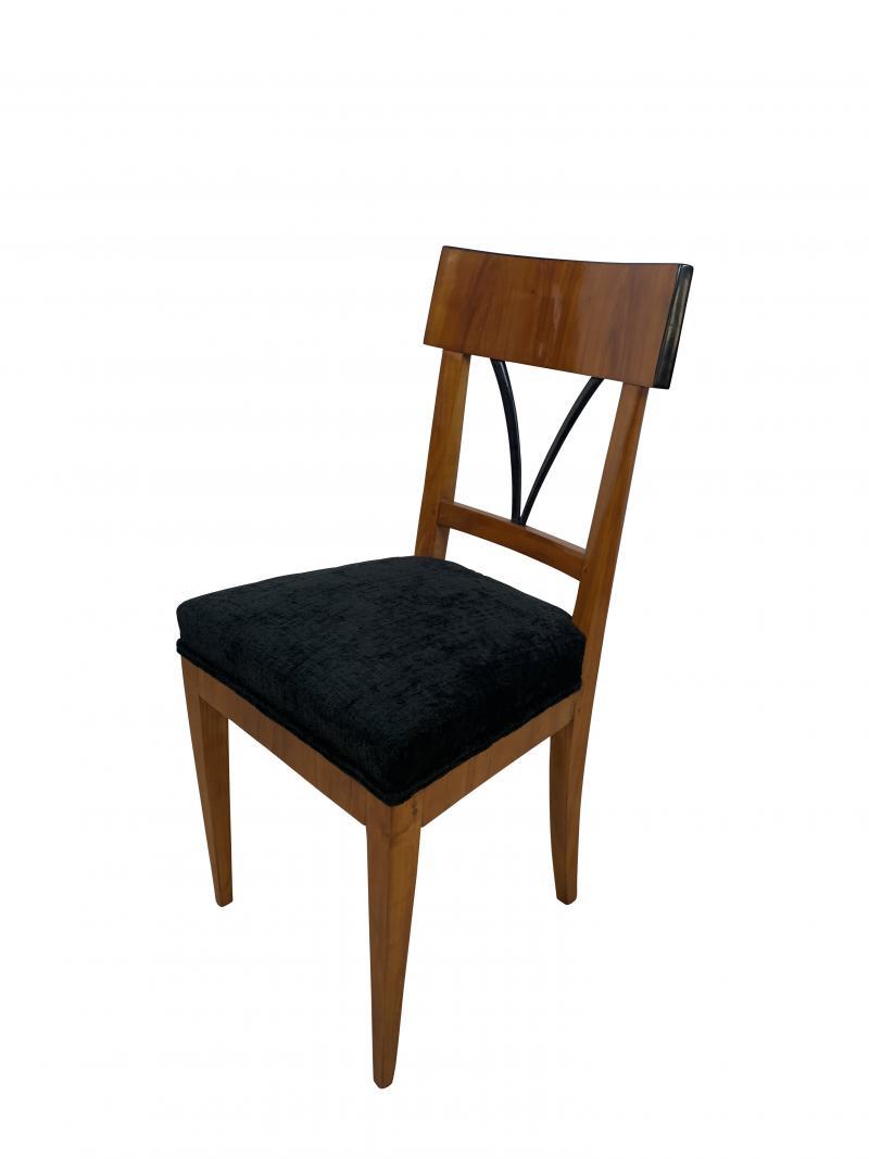 Biedermeier Side Chair Polished Cherry Black Velvet South Germany circa 1820