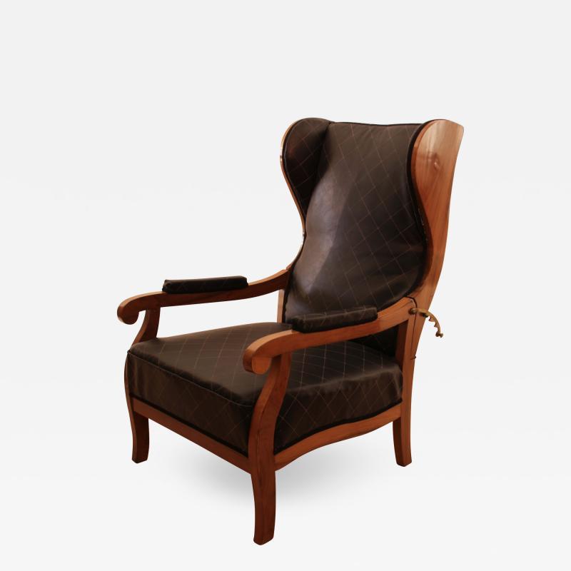 Biedermeier Wing Chair Adjustable Walnut South Germany circa 1820