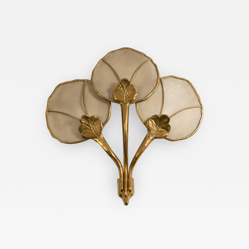 Big Italian wall sconce in brass flower shaped and fabric 20th century
