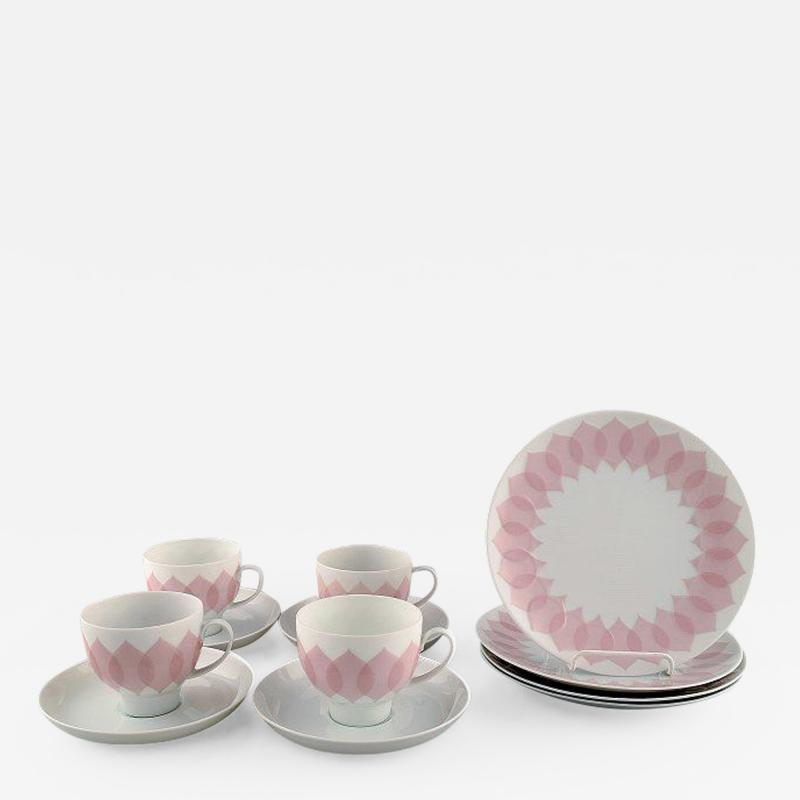 Bj rn Wiinblad Pink Lotus porcelain coffee service for four persons