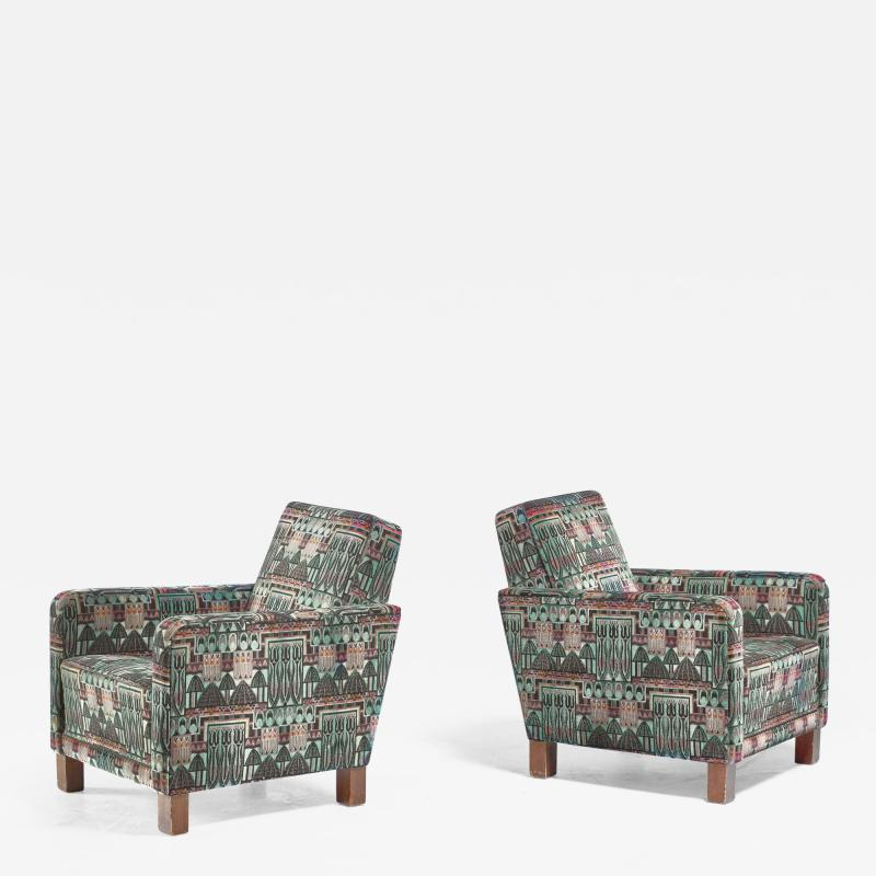 Bjorn Tragardh Bj rn Tr g rdh pair of club chairs with original Art Nouveau upholstery 1930s