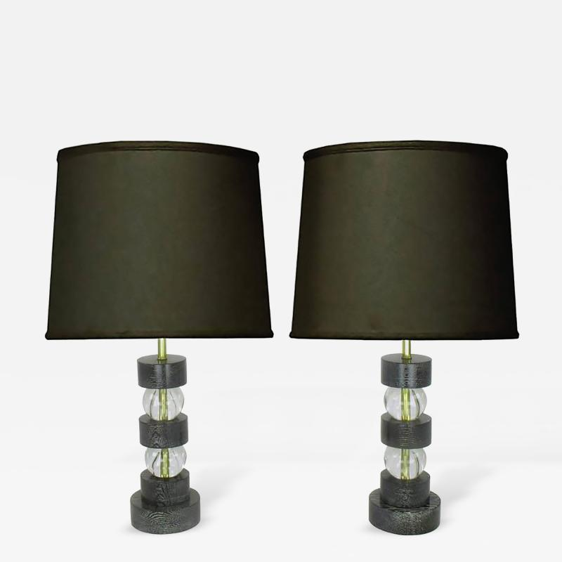 Black Cerused Oak and Crystal Ball Segmented Table Lamps
