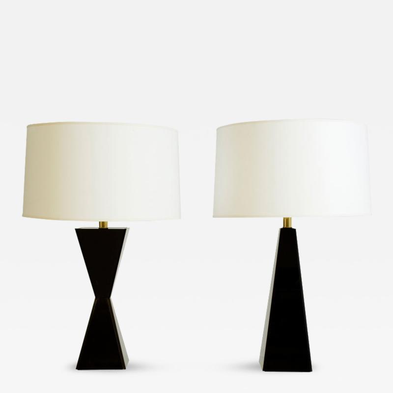 Black Geometric Acrylic Table Lamps Pair