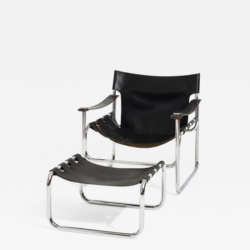 Black Leather Sling Chair and Ottoman 1970