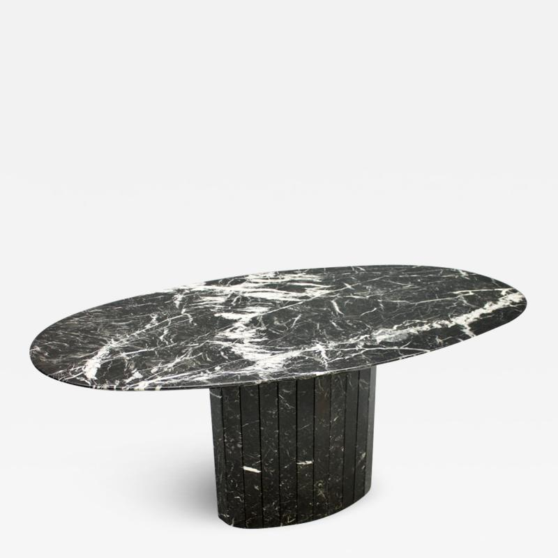 Black Oval Marble Dining Table Italy 1970s