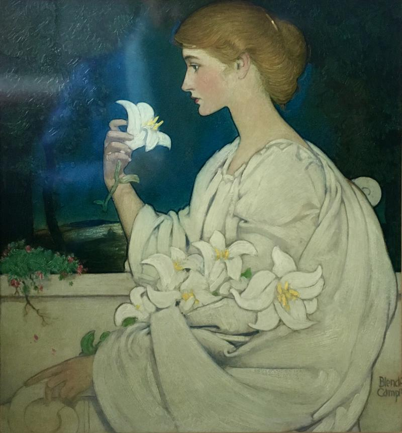 Blendon Reed Campbell Art Nouveau Beauty with Lilies