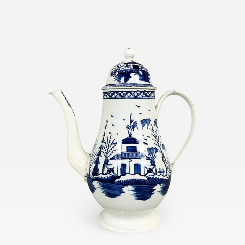 Blue White Pearlware 18th century Coffee Pot