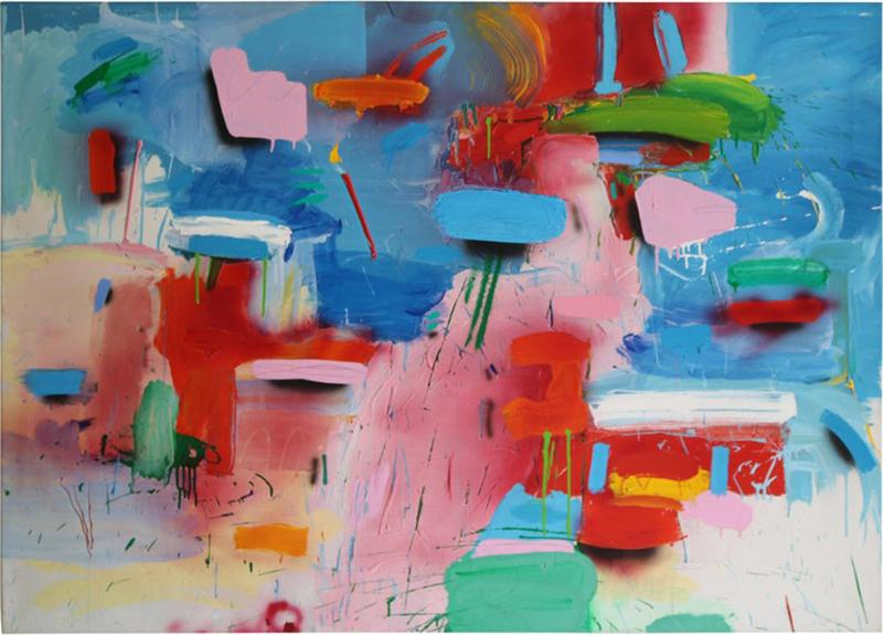 Blue and White Abstract with Multicolored Brushstrokes by Thomas Gathman