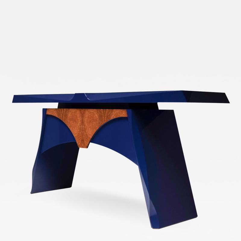 Blue lacquered console table 1980s