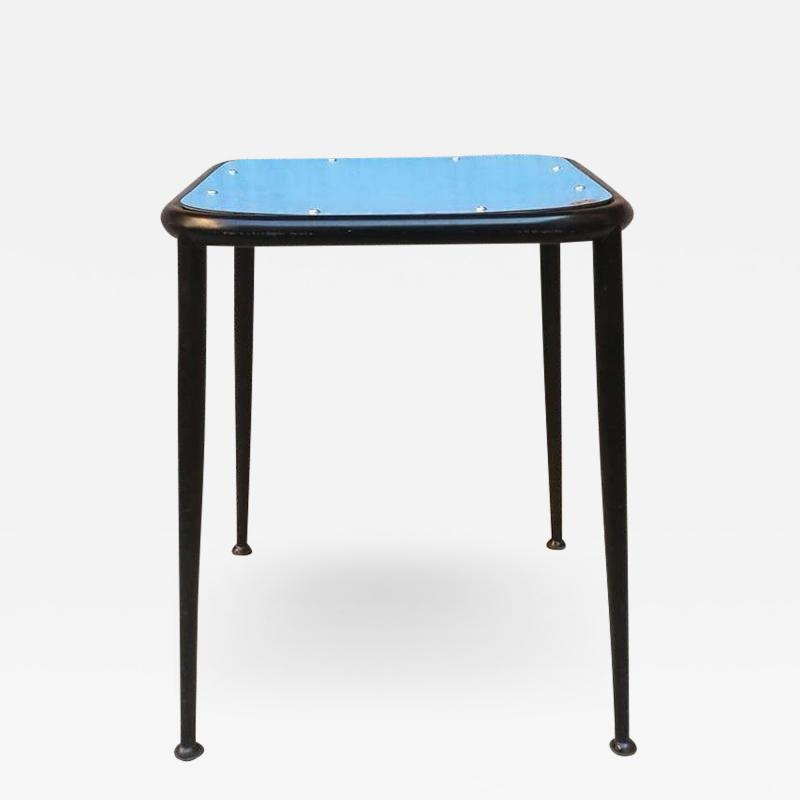 Blue laminate stool 1950s