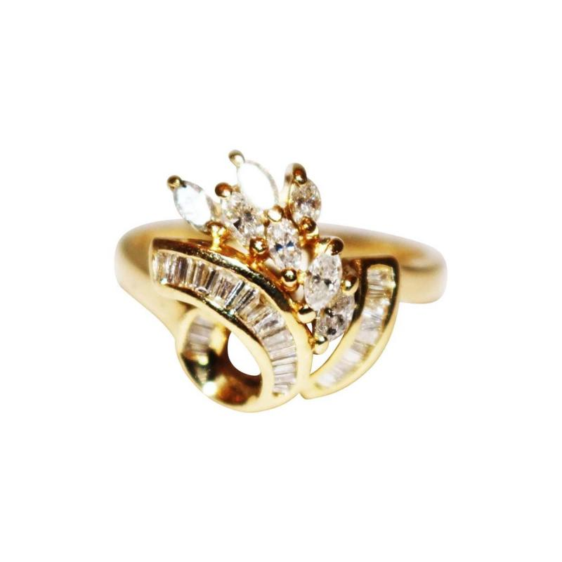 Bold Elegant Modern Natural Marquise Diamond Cocktail Ring