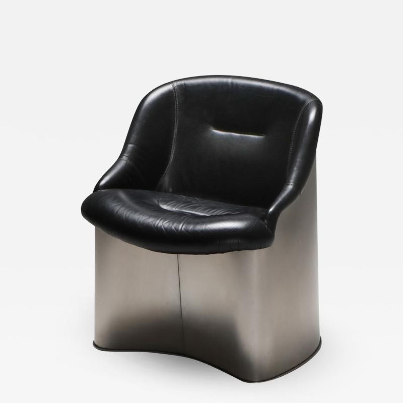Boris Tabacoff Boris Tabacoff Leather and Metal Easy Chair 1970s