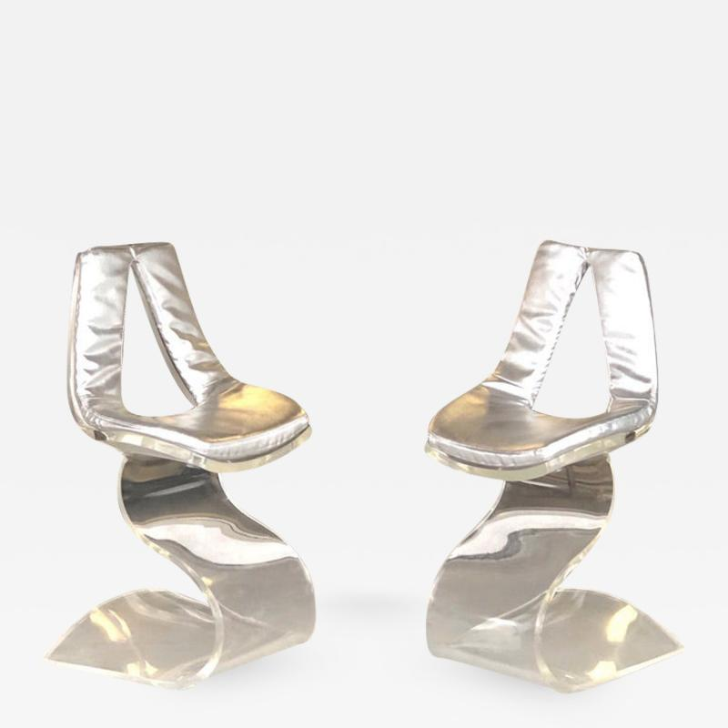 Boris Tabacoff Boris Tabacoff Pair of Dumas Chairs with Original Silver Upholstery 1970