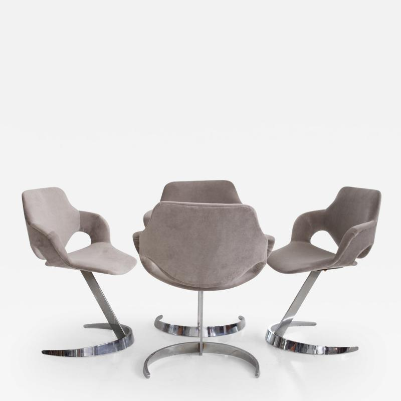 Boris Tabacoff Set of Four Chromed Steel Dining Chairs by Boris Tabacoff