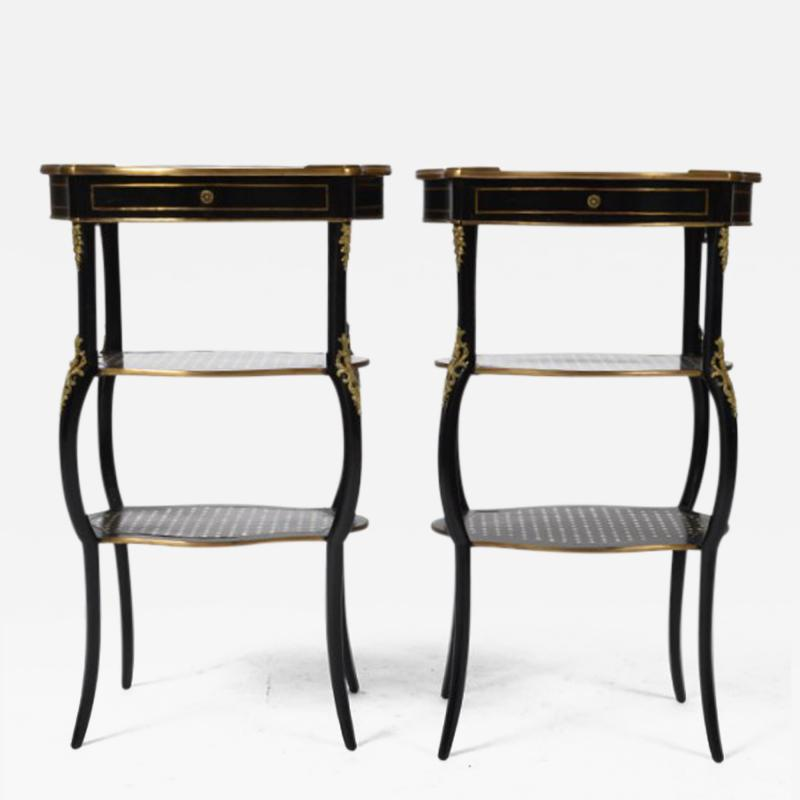 Boulle Style Three Tier Ebony and Bronze Ormolu Tables