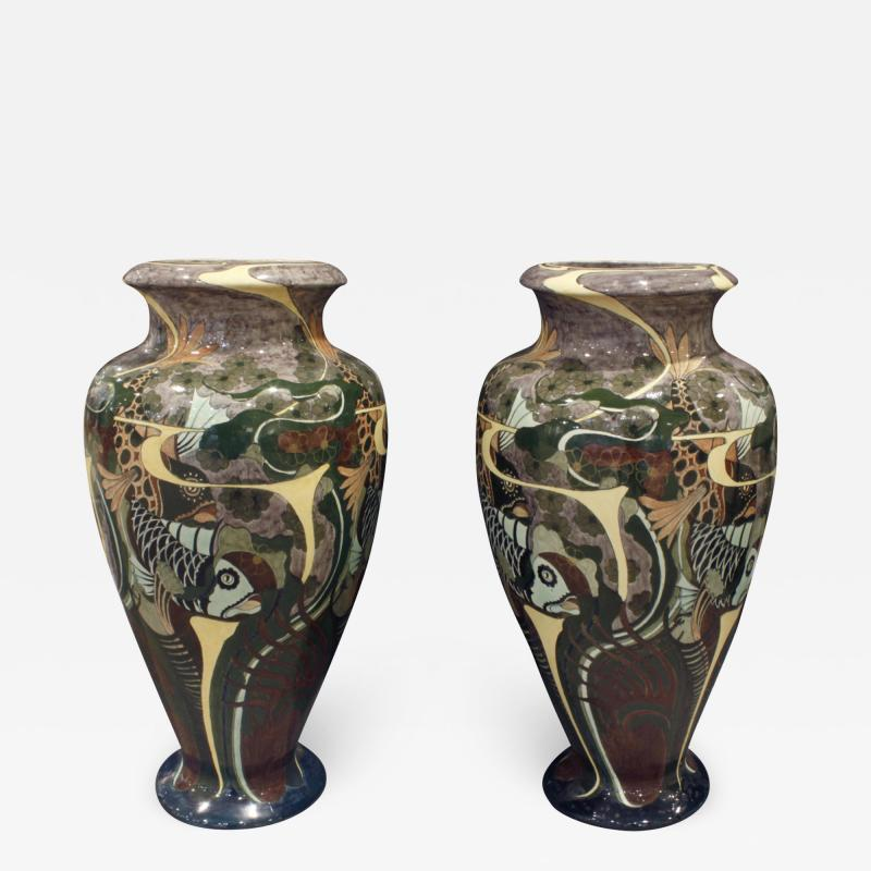 Brantjes Pair of Monumental Art Nouveau Hand Painted Ceramic Vases 1896 signed