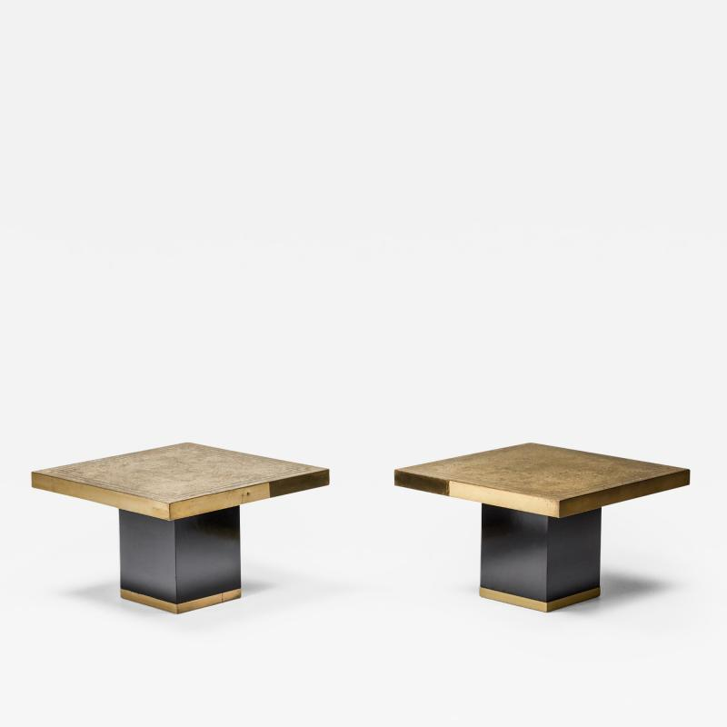 Brass Etched Hollywood Regency Side Tables 1950s