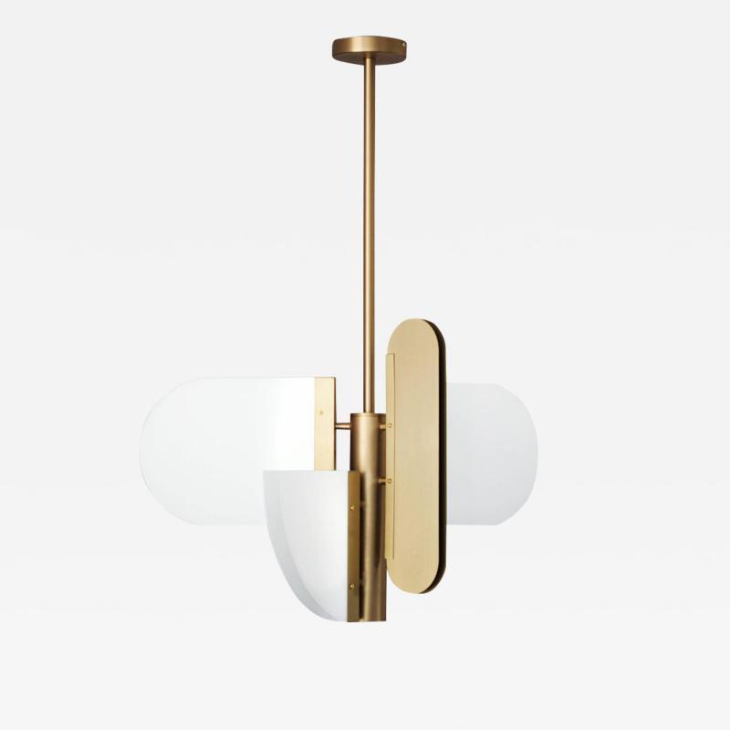 Brass Geometric Task Pendant Lamp Square in Circle