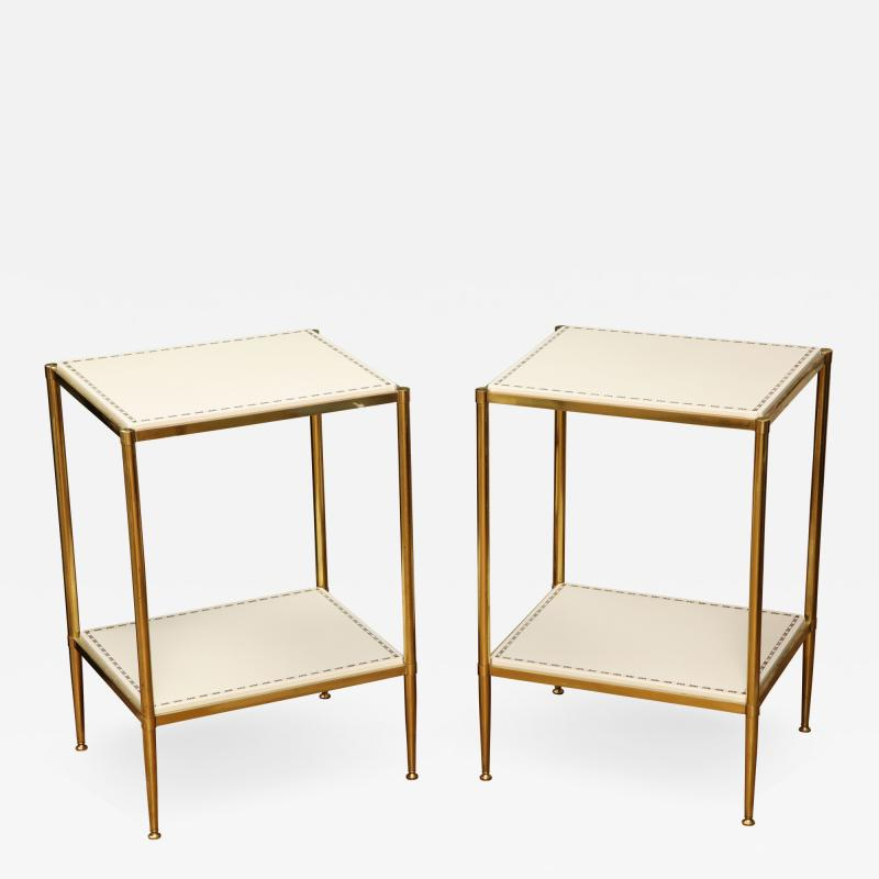 Brass Leather Side Tables