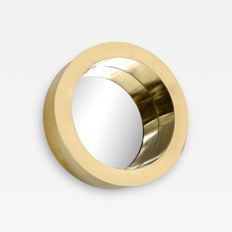Brass Modernist Circular Mirror