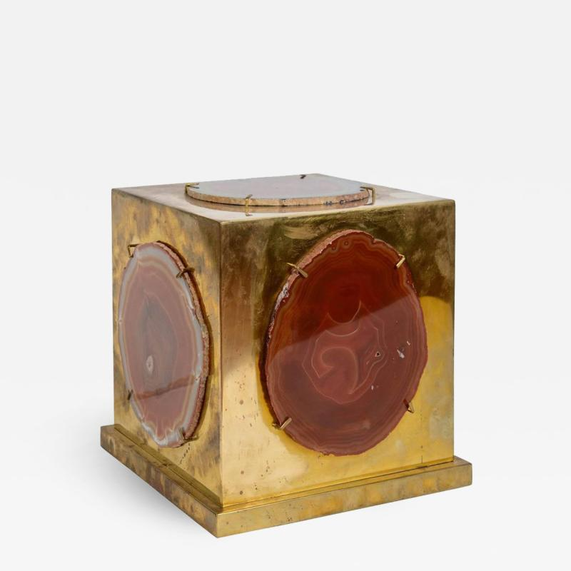 Brass and Agate Square Box Table Lamp