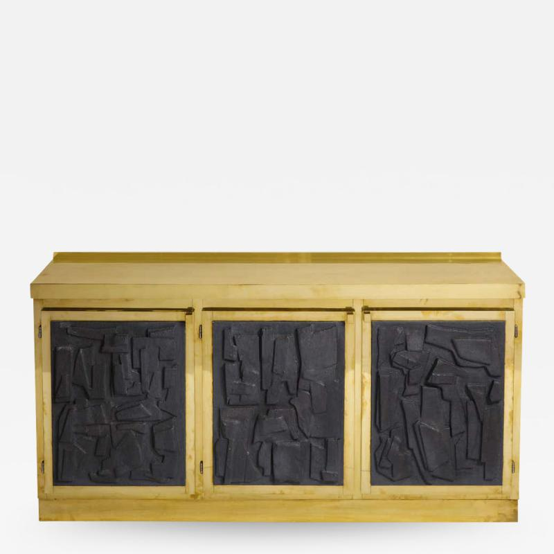 Brass and Black Bespoke Brutalist Style Sideboard or Credenza Italy 2019