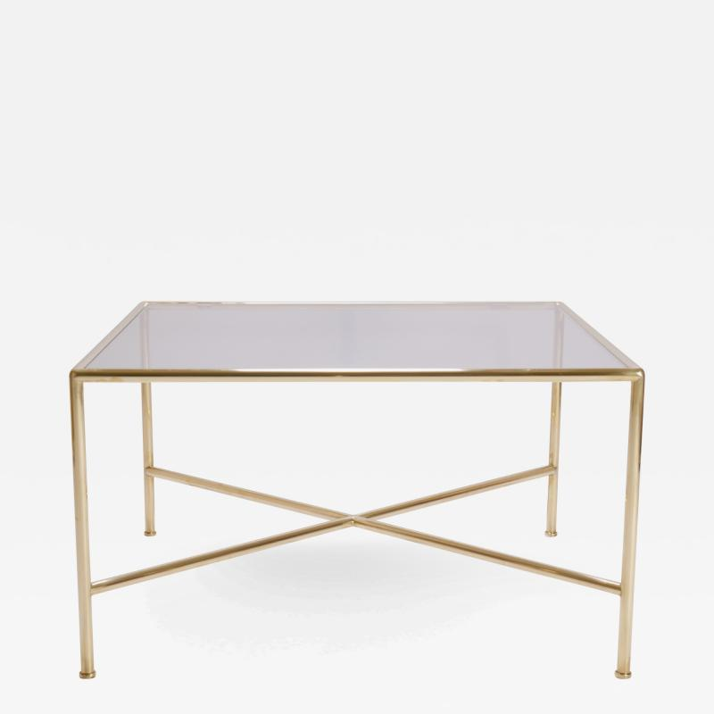 Brass and Glass Tubular Square Cocktail Table