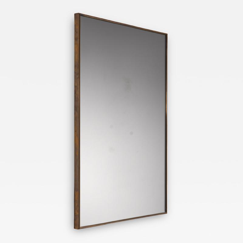 Brass rectangular wall mirror