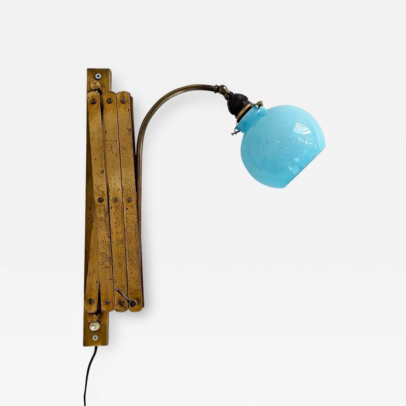 Brass wall lamp with blue glass 1900s