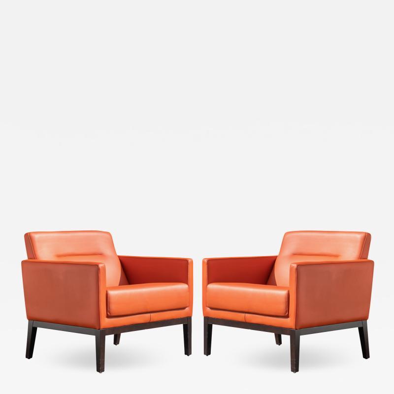 Brayton International Collection Brayton International Club Chairs in Orange Leather Pair