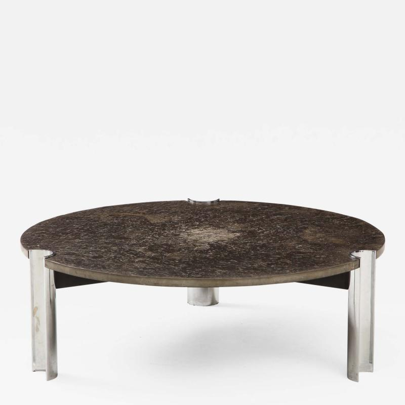 Brazilian Limestone and Chrome Coffee Table with Fossils 1970s