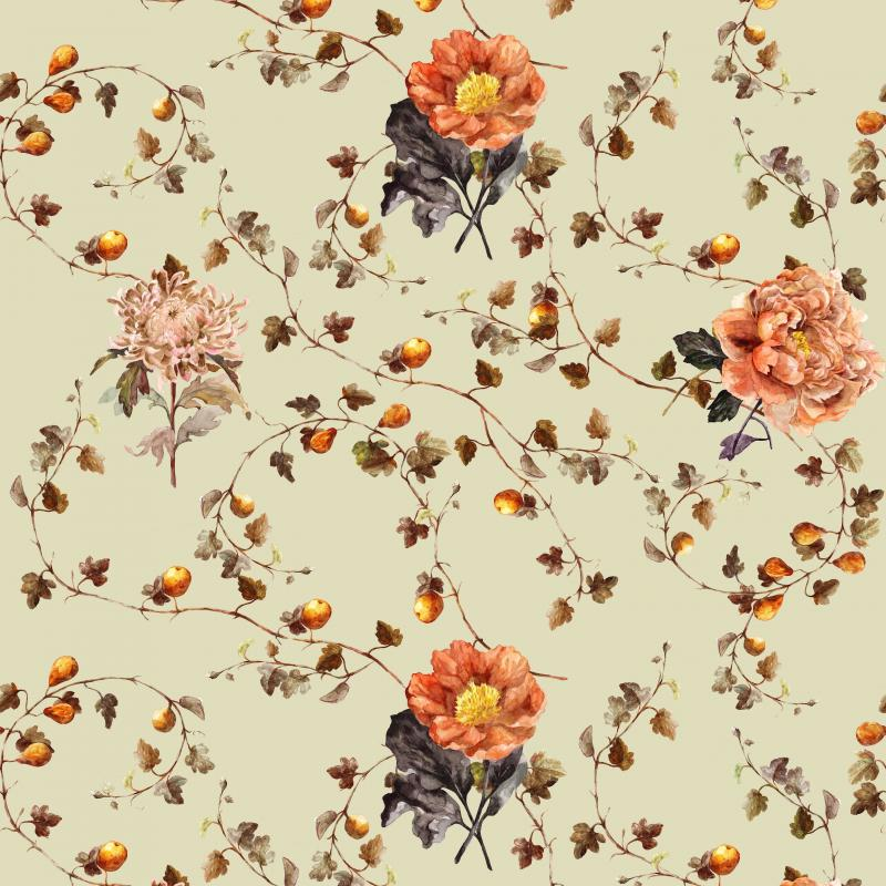 Brett Design Fig with Blooming Flower Celadon