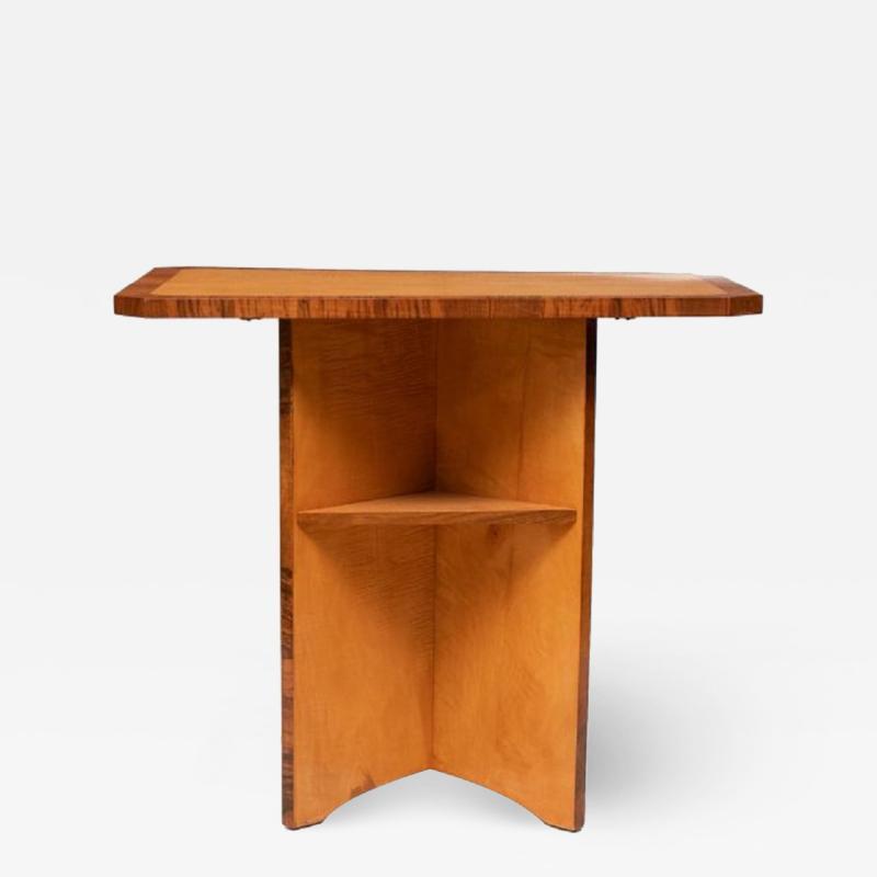 British Art Deco Satin Birch Side Table bookcase with walnut trims c 1930