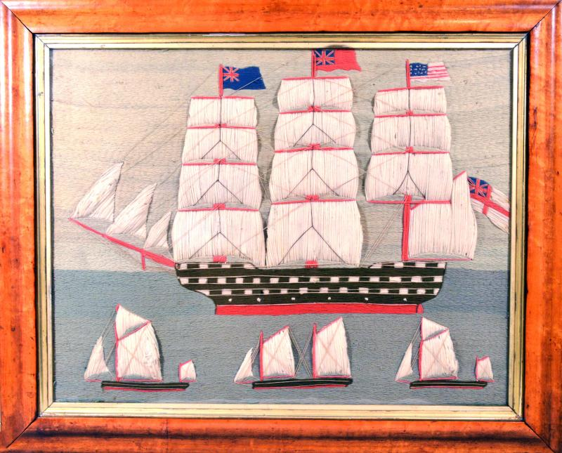 British Sailors Folk Art Woolwork With Trapunto Sails