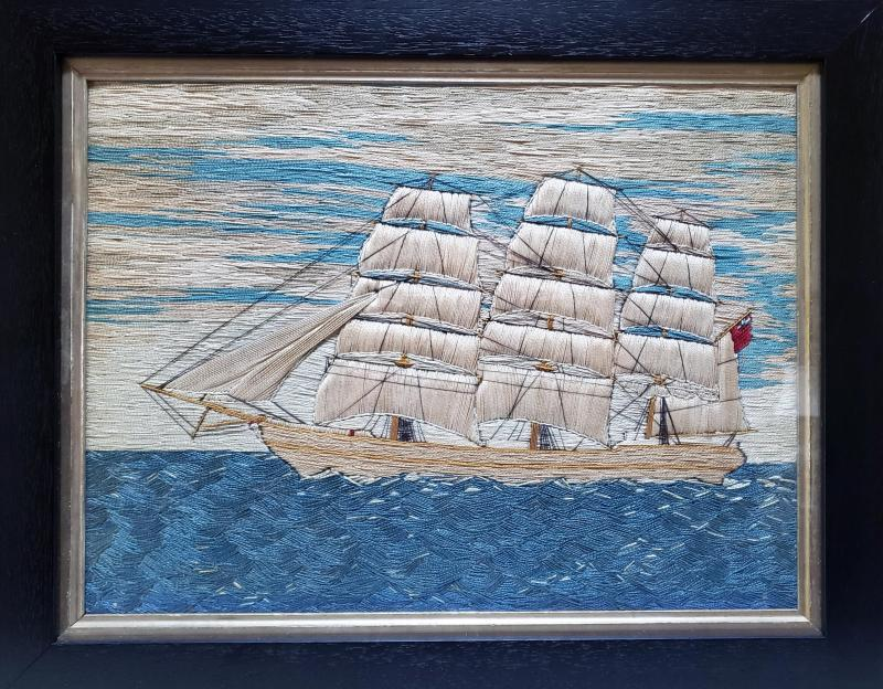 British Sailors Pearled Cotton P icture of a Merchant Navy Ship