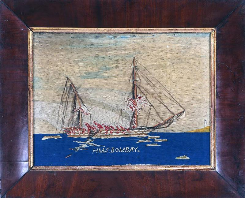 British Sailors Woolwork Woolie of Ship HMS Bombay on Fire