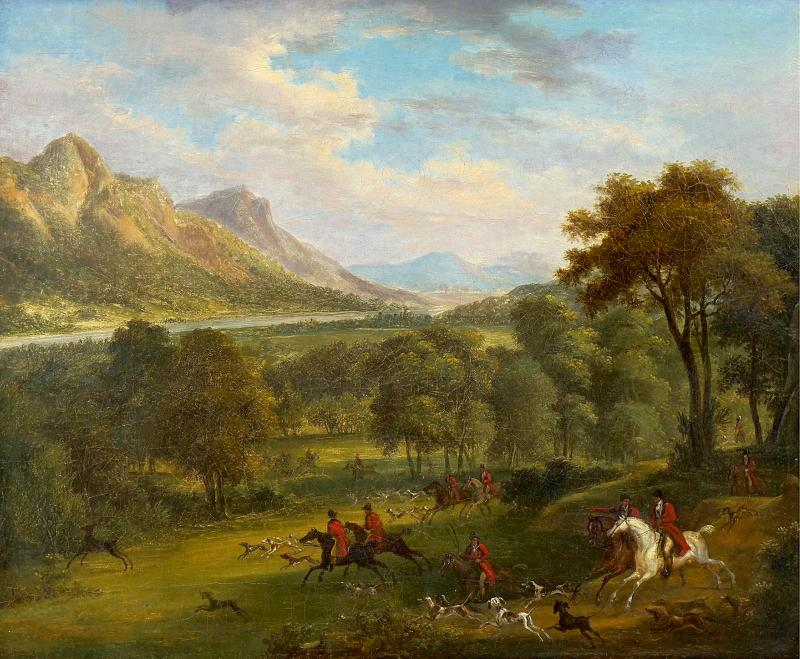 British School 19th C Antique Oil Landscape Painting of A Hunting Party