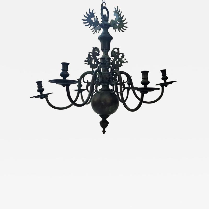Bronze Baroque Six Arm Chandelier Dutch Flemish