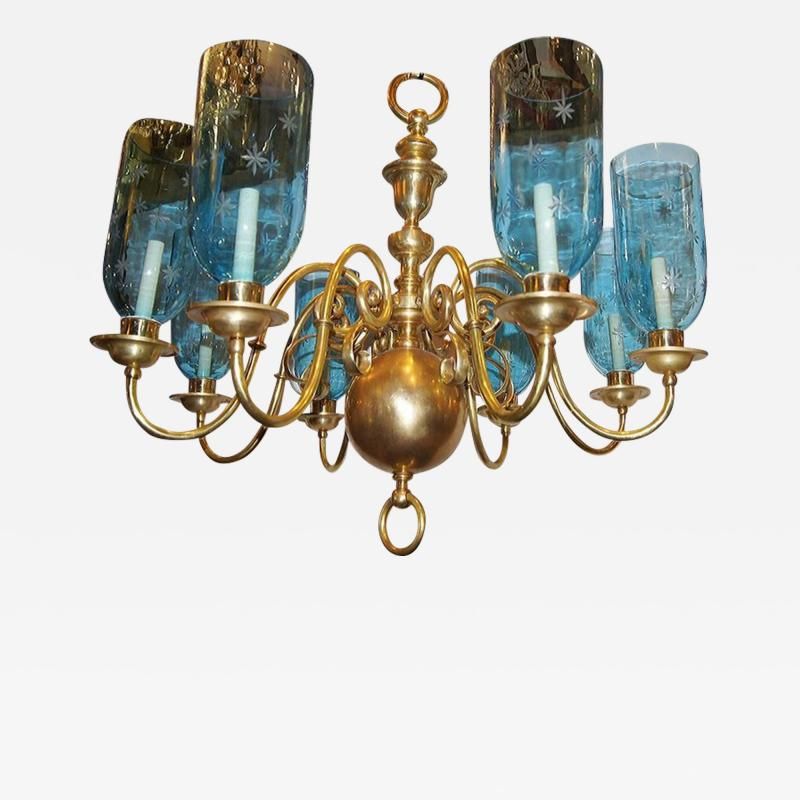Bronze Chandelier with Etched Glass Hurricanes