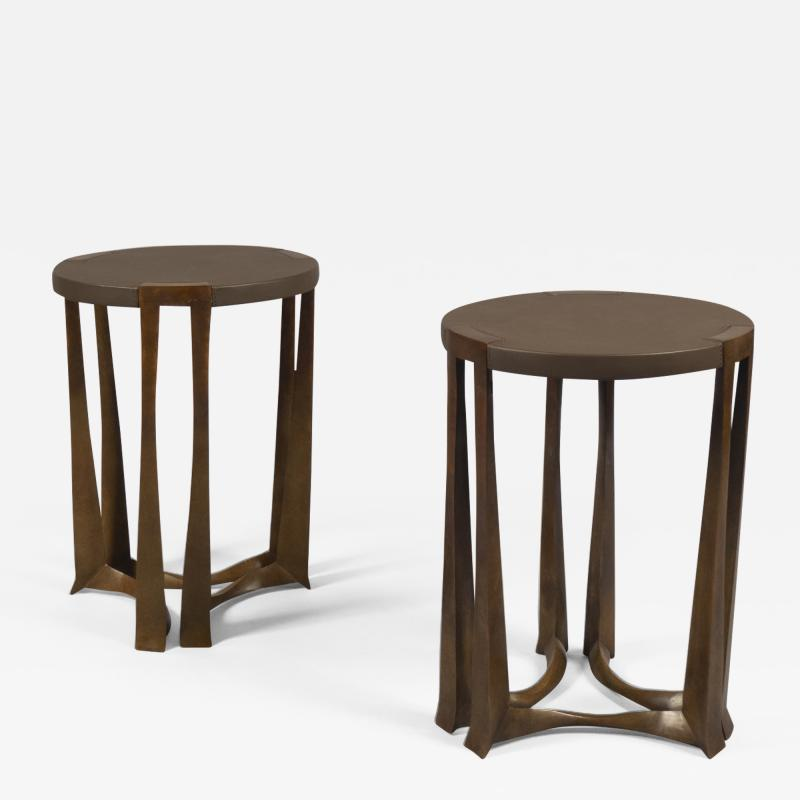 Bronze and Leather Side Table France 2019