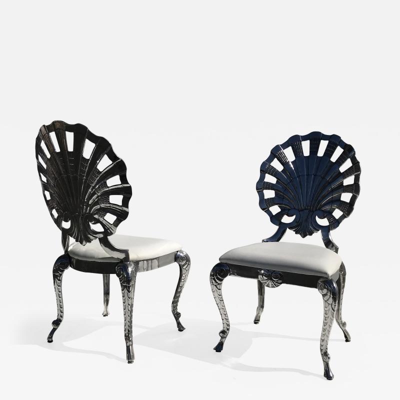 Brown Jordan Pair Venetian Grotto Style Aluminum Shell Chairs